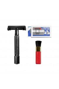 Razor Gunmetal Safety Shave Set Comoy